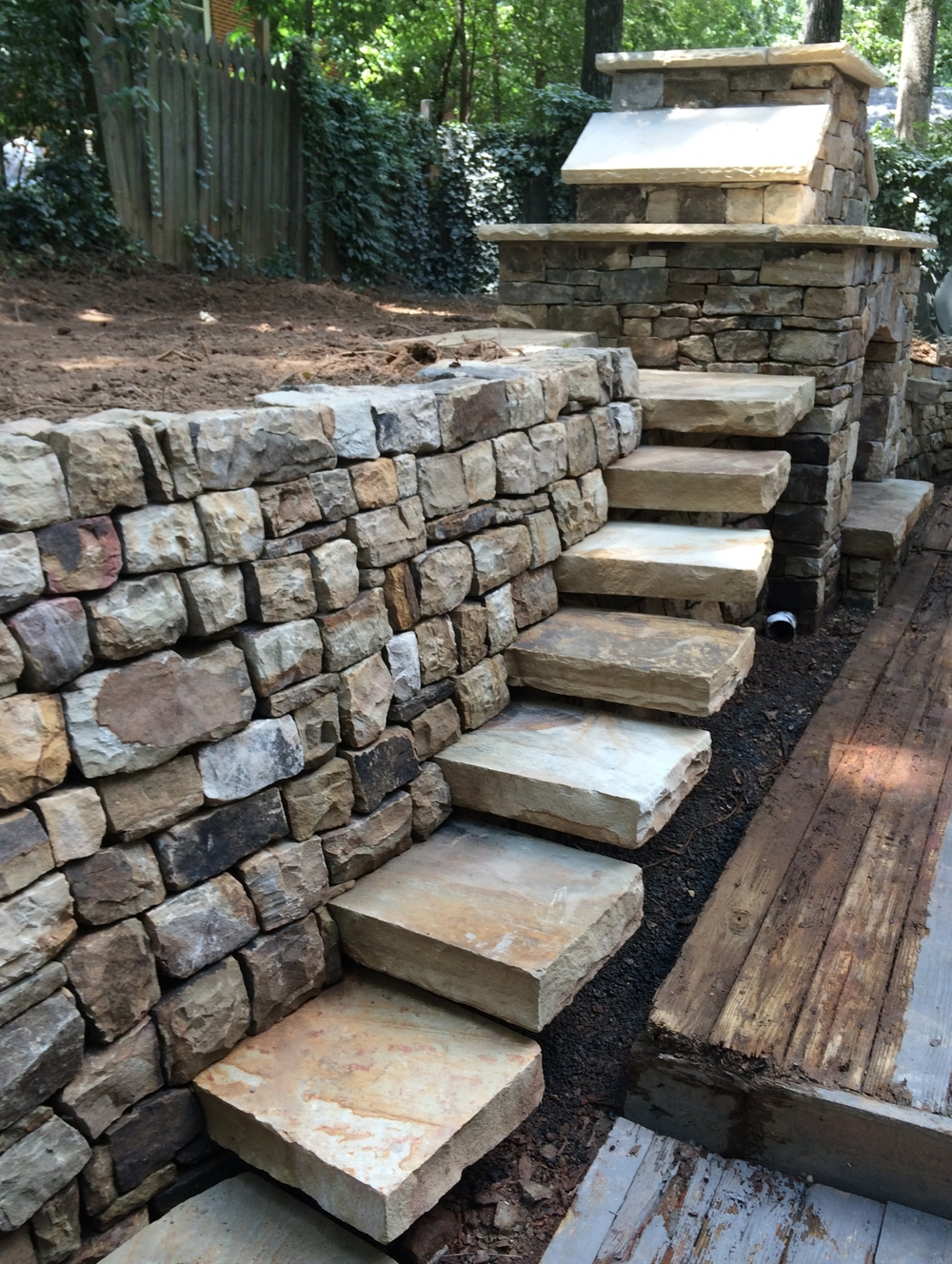 dry laid wall and steps