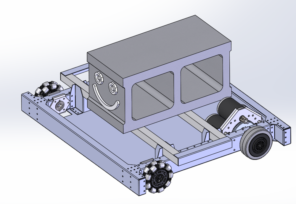 "X017 with ""Mr. Cinderblock"".  MCB is an important member of the team so we added him to the Robowrangler CAD library."