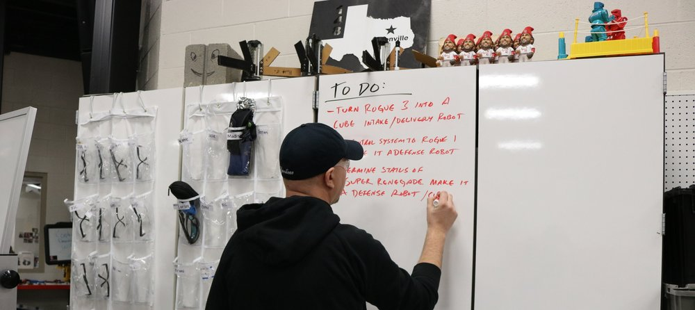 "What do I do when I'm not just messing around on the field with James' Segway?  Mostly I make lists.  Note: ""Mr. Cinder Block"" on the cabinet above me - he's always ready to help a prototyping group."