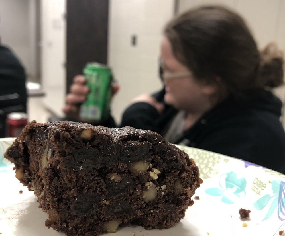 "Another reason things are going GREAT: we have "" Paula Vielkind Brownies ""!!!  Kylie from our Elec/Software team decided ""Why Not"" and brought them for the team to try.  I like the spirit.  There have definitely been a few converts.  I'm happy to have so many Robowranglers joining #TeamPaula.  Kylie is now my favorite Robowrangler.  It's not hard to get to the top of the Robowrangler power chart."