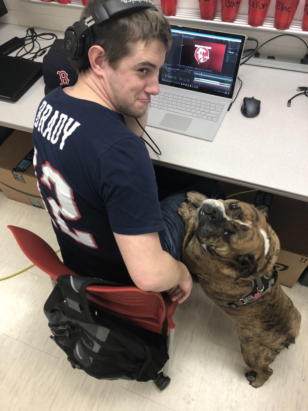 Matilda wants to help Dillon work on the 148 Unveil video.  Dillon didn't seem as into it as she did.  No one is sure who looks more grumpy: me or the bulldog.
