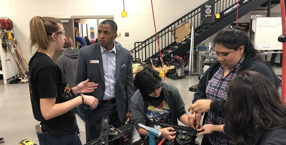 "Madison tells Dr. Liggins ""what's up"" with our drivetrain builds while V and Z keep working and try to pretend the big boss isn't standing next to them."