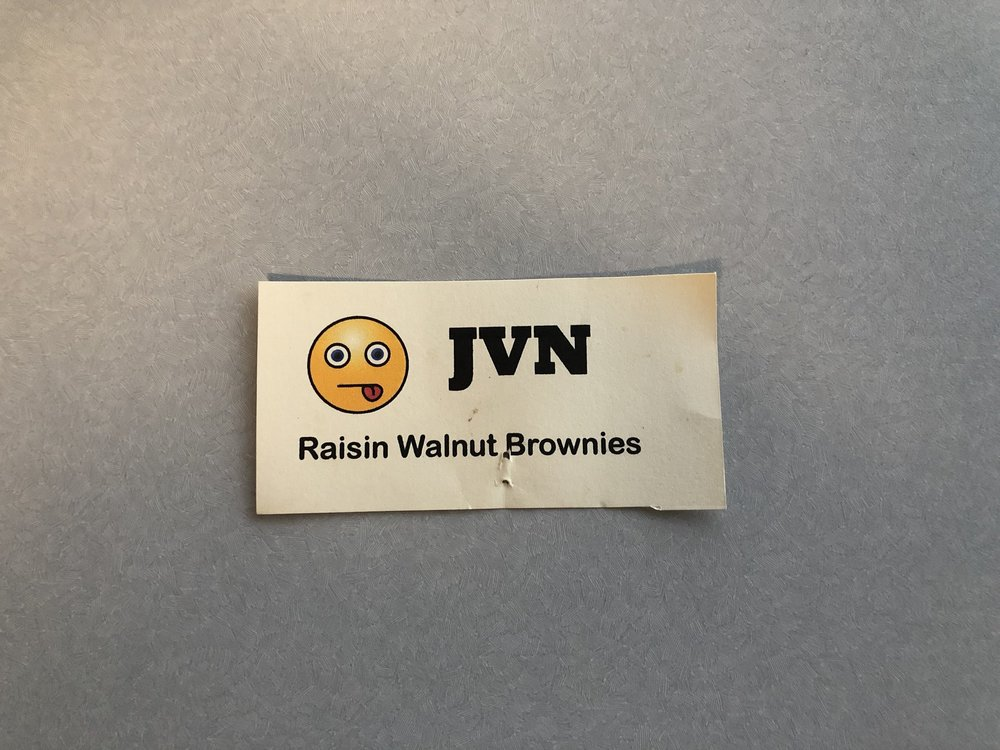 "This is how the raisin brownies were labeled.  I don't appreciate the "" editorial via emoji "" but they were still delicious.  If someone wants to mock my beliefs, but will still makes me brownies... I'll take it."