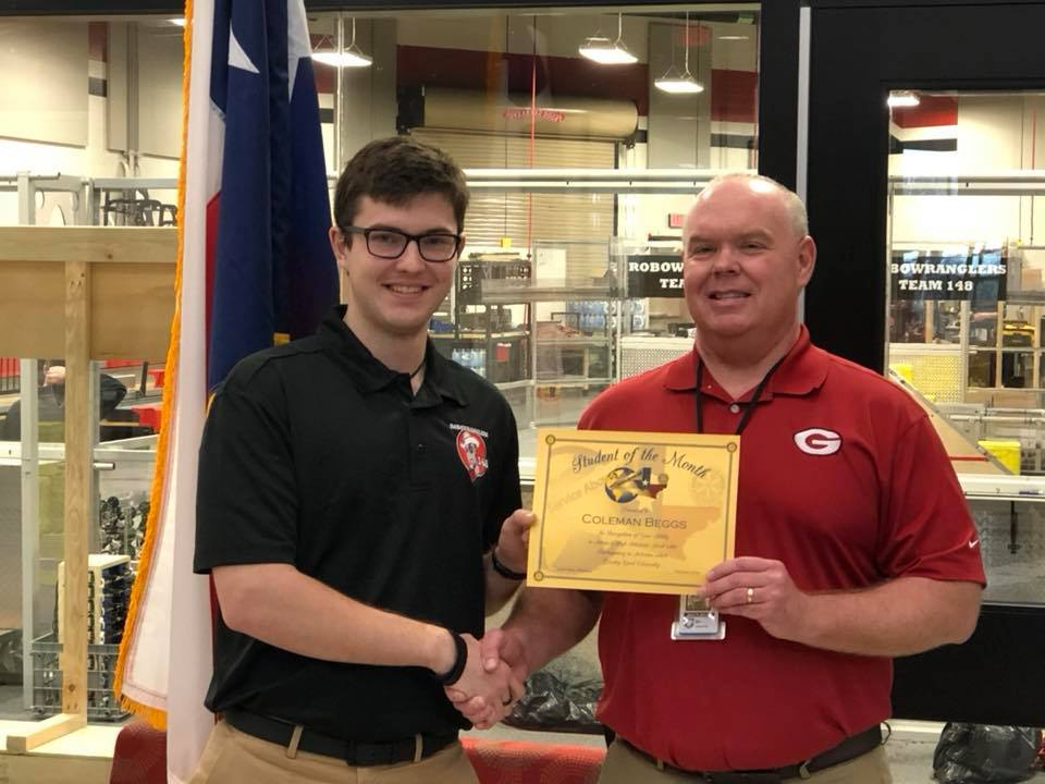 Congratulations to our robot driver and Robowrangler 4th-year Senior: Coleman on being recognized as GHS Student of the Month!