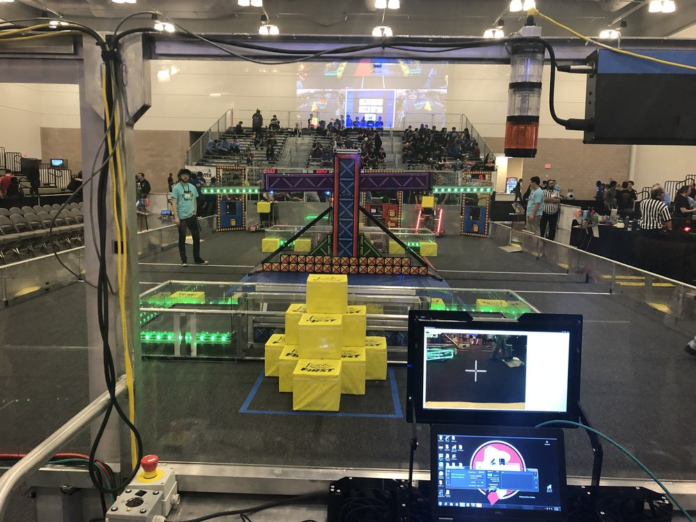 "Driver's Eye View of the field (and robot's eye view on the dashboard... we love our  Limelight  ""cube cam"")."