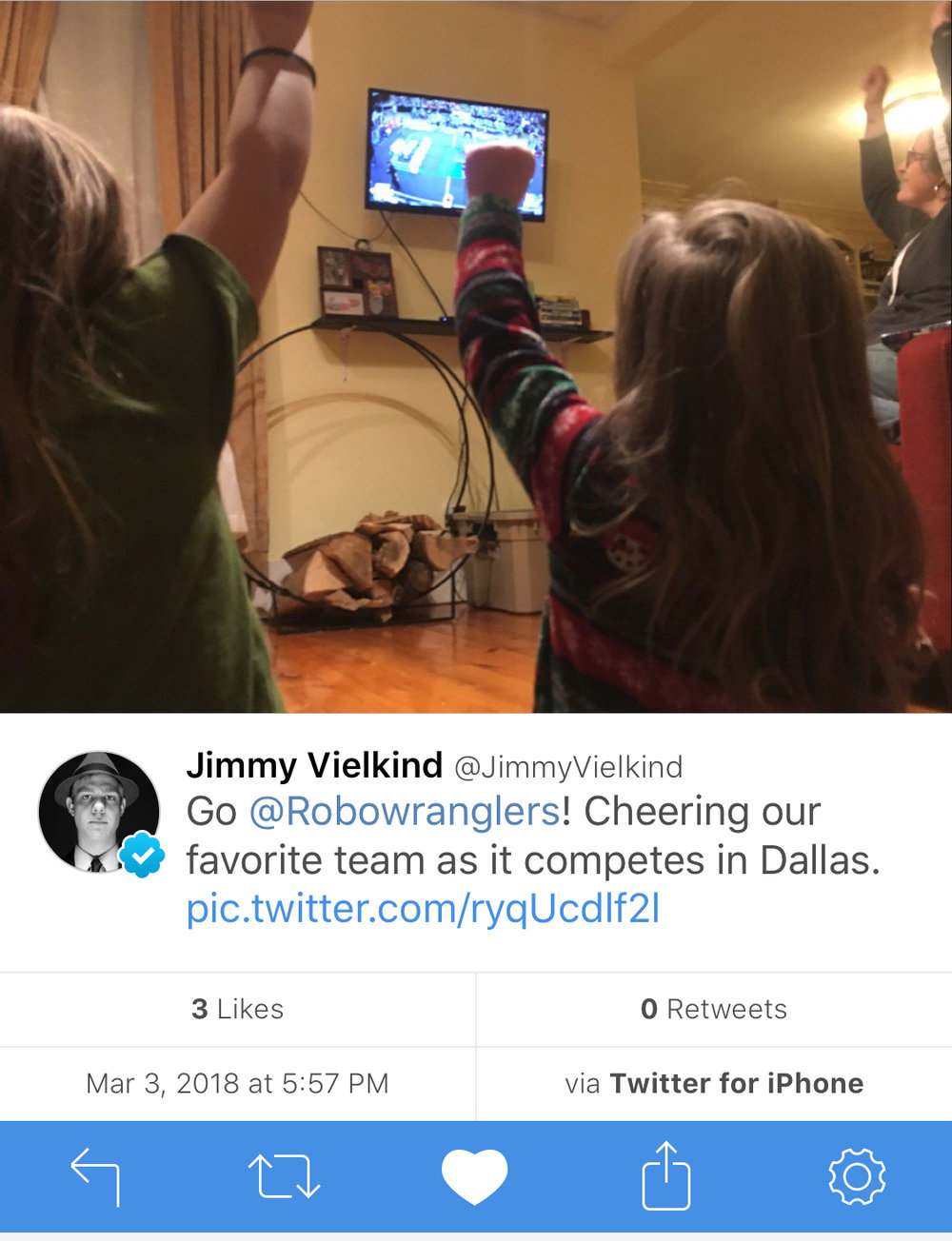 "My nieces cheer for us from NY.  The little one calls the robot ""Apricot""."