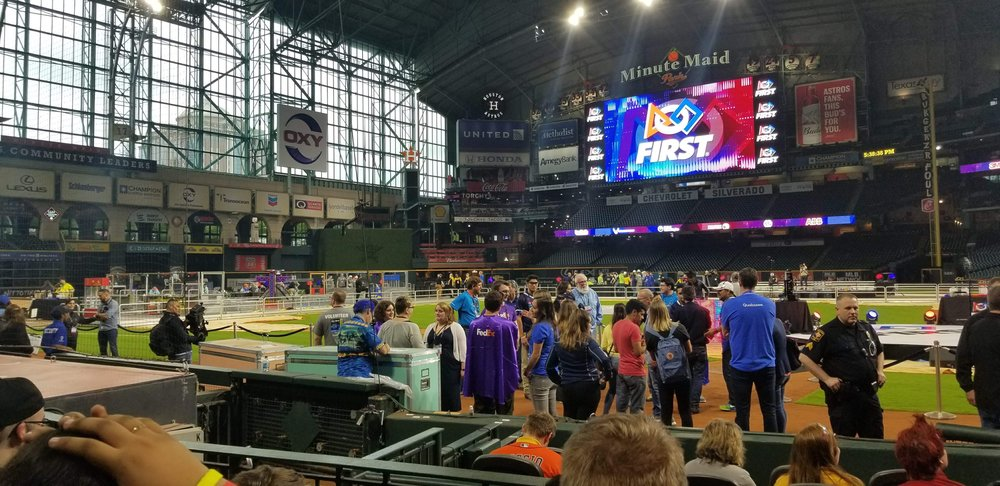 "This is the view from the Robowrangler ""reserved seats"" in Minute Maid Park."
