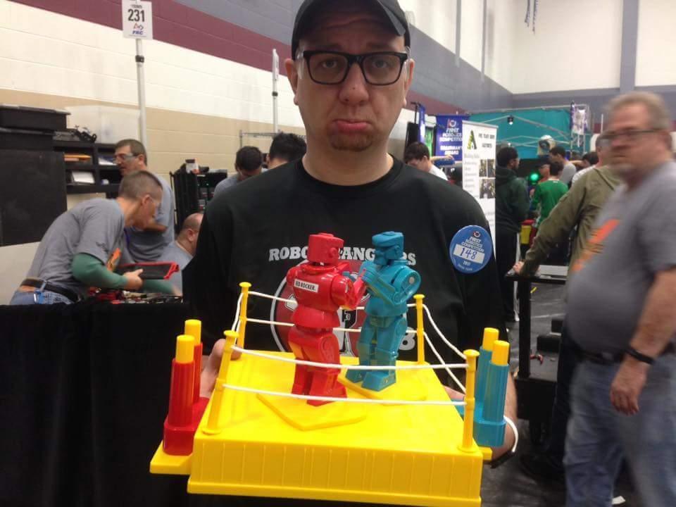 We challenged everyone to Rock-em, Sock-em Robots!