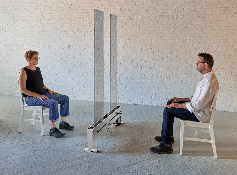"Anne Lilly, To See, acrylic mirrors, aluminum, stainless steel, delrin, motor microprocessor, chairs, 78""H x 48""W x 8""D"
