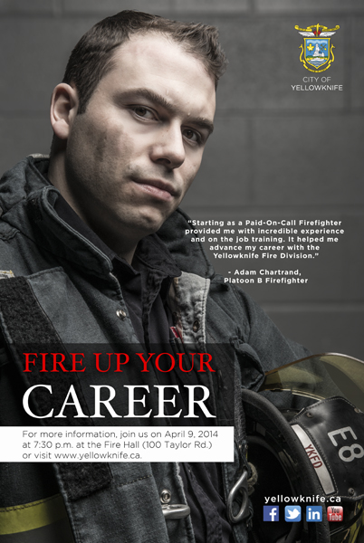 Firefighter, Adam Chartrand, photographed for the Fire Up Your Career campaign by YKFD and The City of Yellowknife.