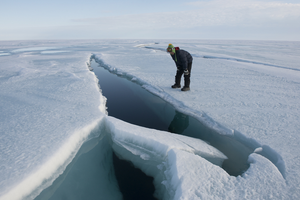 Kenneth checks out a crack in the Northwest Passage.