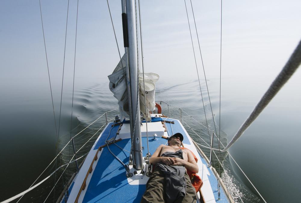 Ben snoozing on Great Slave Lake