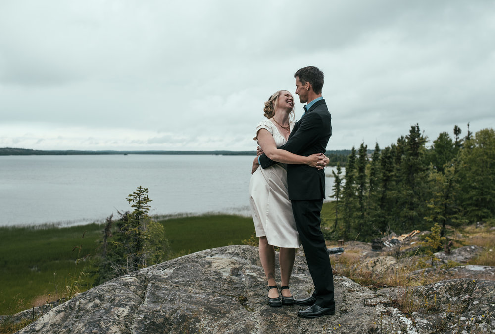 Michelle and Pierre overlooking Back Bay in Yellowknife, NT.