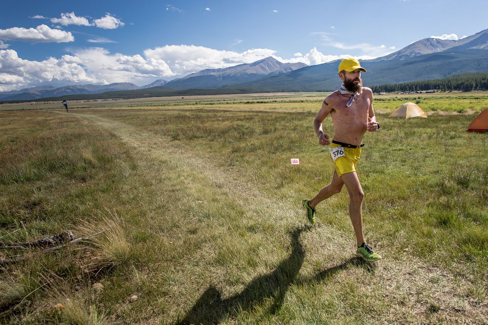 Rob Krar on his way to a Leadville 100 victory in 2014; photo by   Matt Trappe