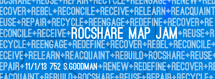 RocShare, as part of the Sharing Cities Network, is participating in Shareable'sSharing Cities Map Jam! We will be getting togetherFriday November 1st 2013 atCrossroads Coffeehouse on752 South Goodman St tohave coffee, share knowledge, and map out all the sharing resources in Rochester! Things to bring: Local knowledge: we will need people who know of resources the rest of us might not haveheard of! A laptop/tablet/smartphone: anything that can edit a spreadsheet. A couple bucks to buy a coffee: to thank Crossroads and power our brains. A Google account: helpful, but not required. A friend: friends are awesome. Agenda: 5:00-5:30 Introductions and Explanations and Ordering Coffee 5:30-7:00 Identifying and Mapping Sharing Resources Hope to see you there! Current map:http://rocshare.tumblr.com/map Other Map Jams: (http://www.shareable.net/blog/join-the-sharing-cities-map-jam)