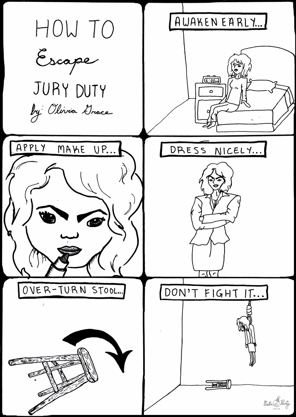 """""""How To Escape Jury Duty""""   by Olivia Grace -  Victim Party Comics"""