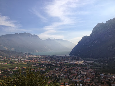 Lake Garda off in the distance between the mountains!