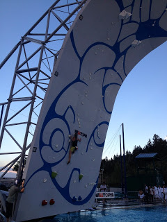Lynn Hill climbing on the wall during semi-finals! I was so psyched to meet her :)