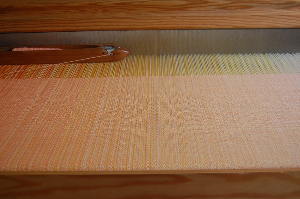 hand-dyed Melon  hemp/cotton weft