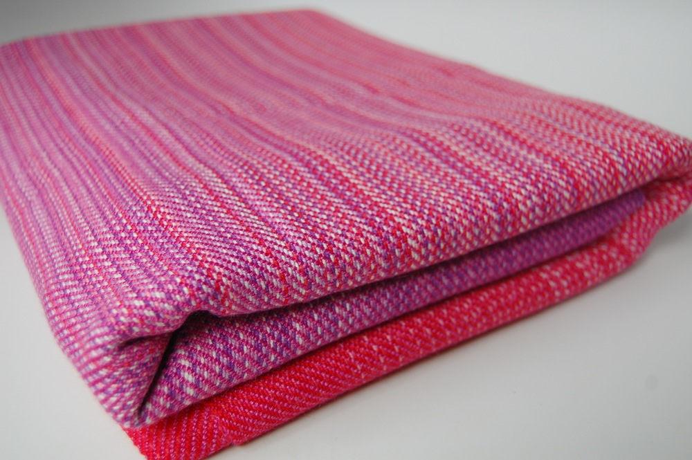 Fuchsia merino/silk weft 2.7 meters $337.50 approximately 265grams/m^2.This must be hand-washed.