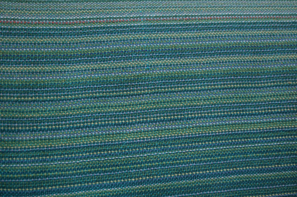 close-up on the weave, this one with blue-green EC weft
