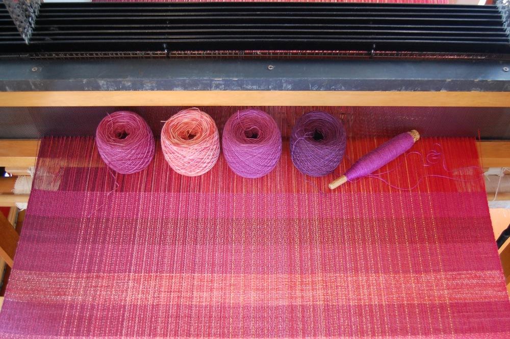 merino/silk wefts: first four are hand-dyed 80% merino/20% silk, the last is 50% silk/50% merino