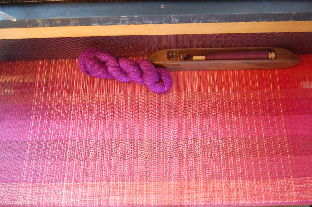 top two colors in woven sample show two additional wool wefts: hand-dyed superwash merino wool and fine organic merino wool
