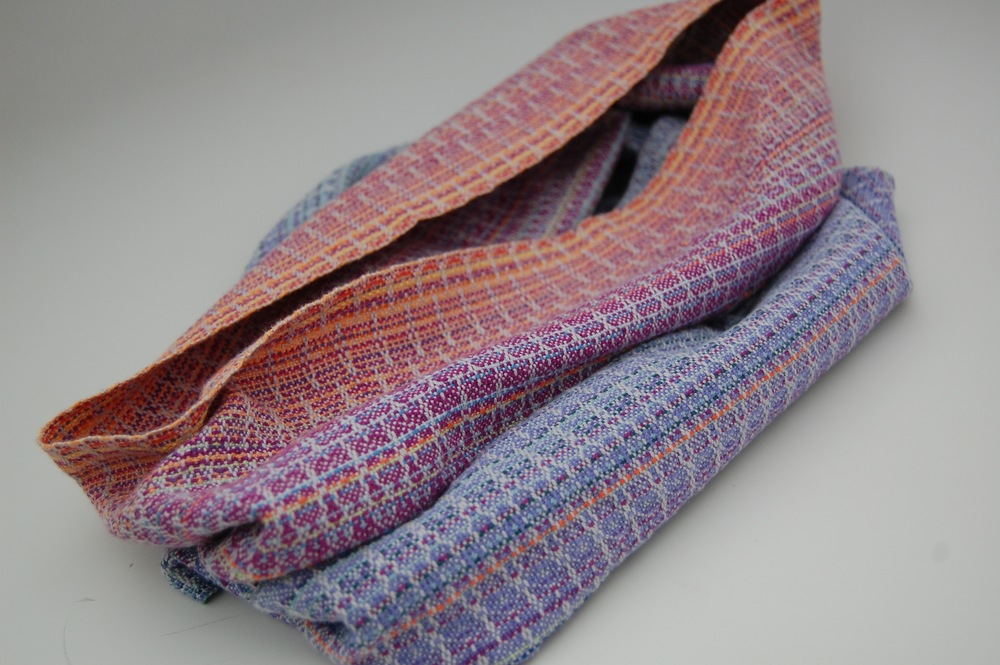 Hyacinth with silver cotton weft cowl $120