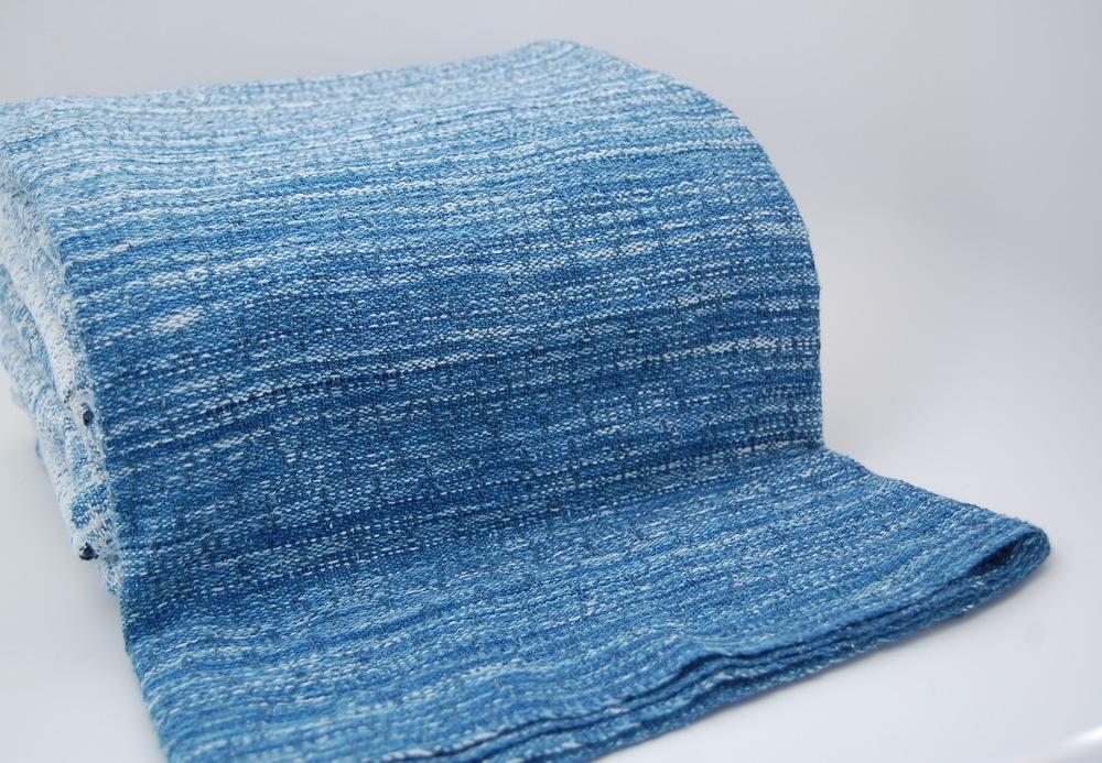 indigo v.1: three little birds tsumugi silk weft shawl approx 225 grams/m^2