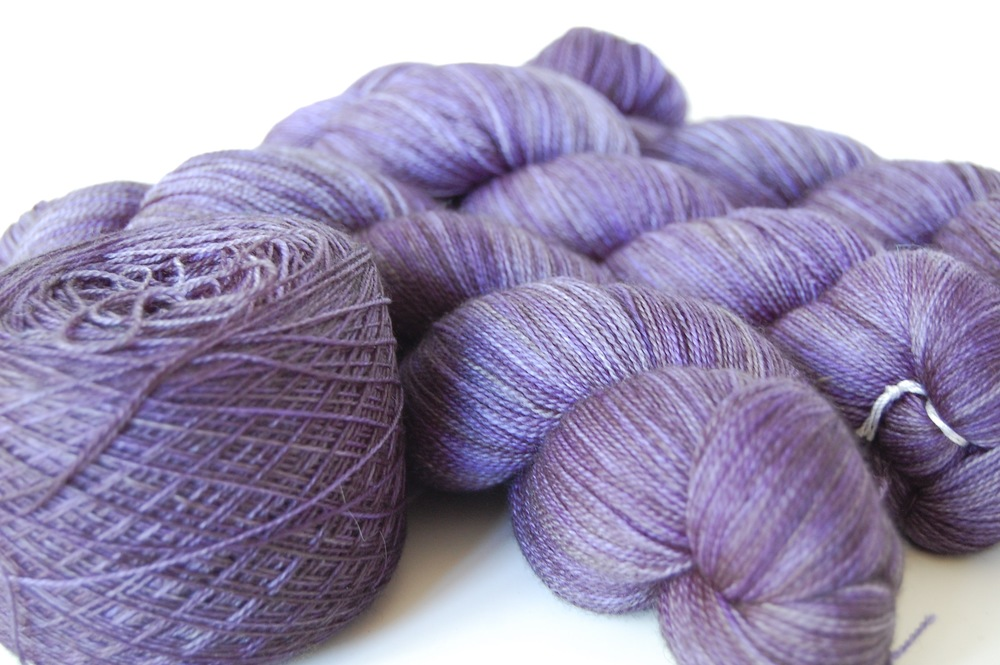 madeline tosh superwash lace merino in Clematis