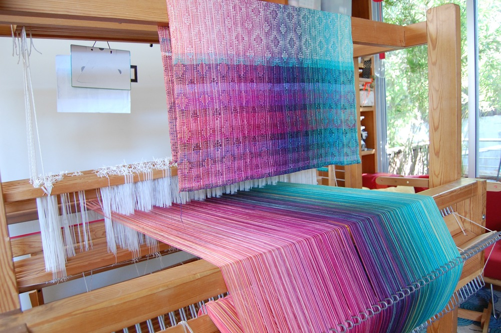 weft sample shown above the warp