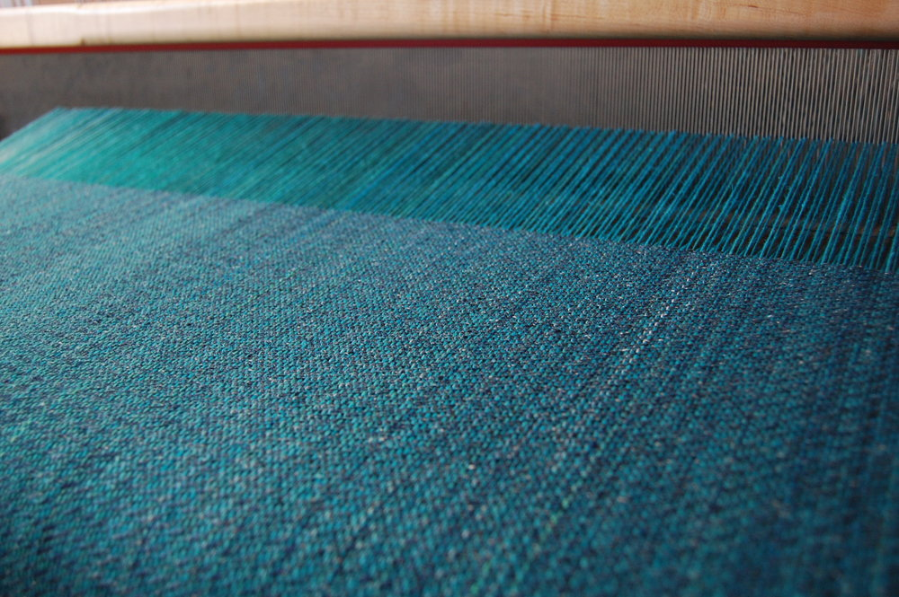 The weave -shown here with the Tsumugi silk weft.