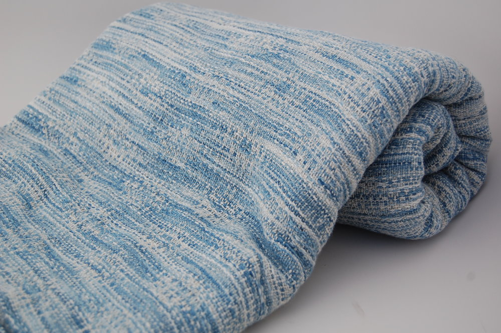 Indigo v. 2 Blueprint with natural hemp/cotton weft 4.65 meters - shown here finished