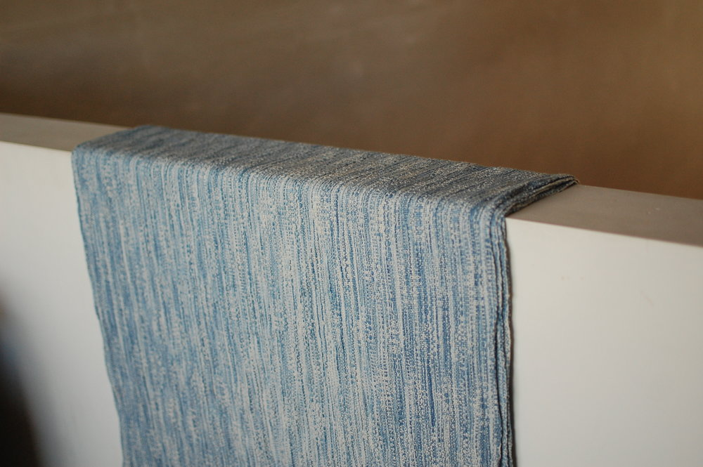 Indigo v.2 Blueprint with natural silk/cotton weft 5.0 meters - shown here finished