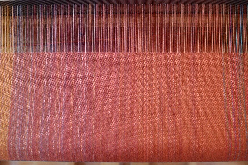 warp with rust orange cotton weft