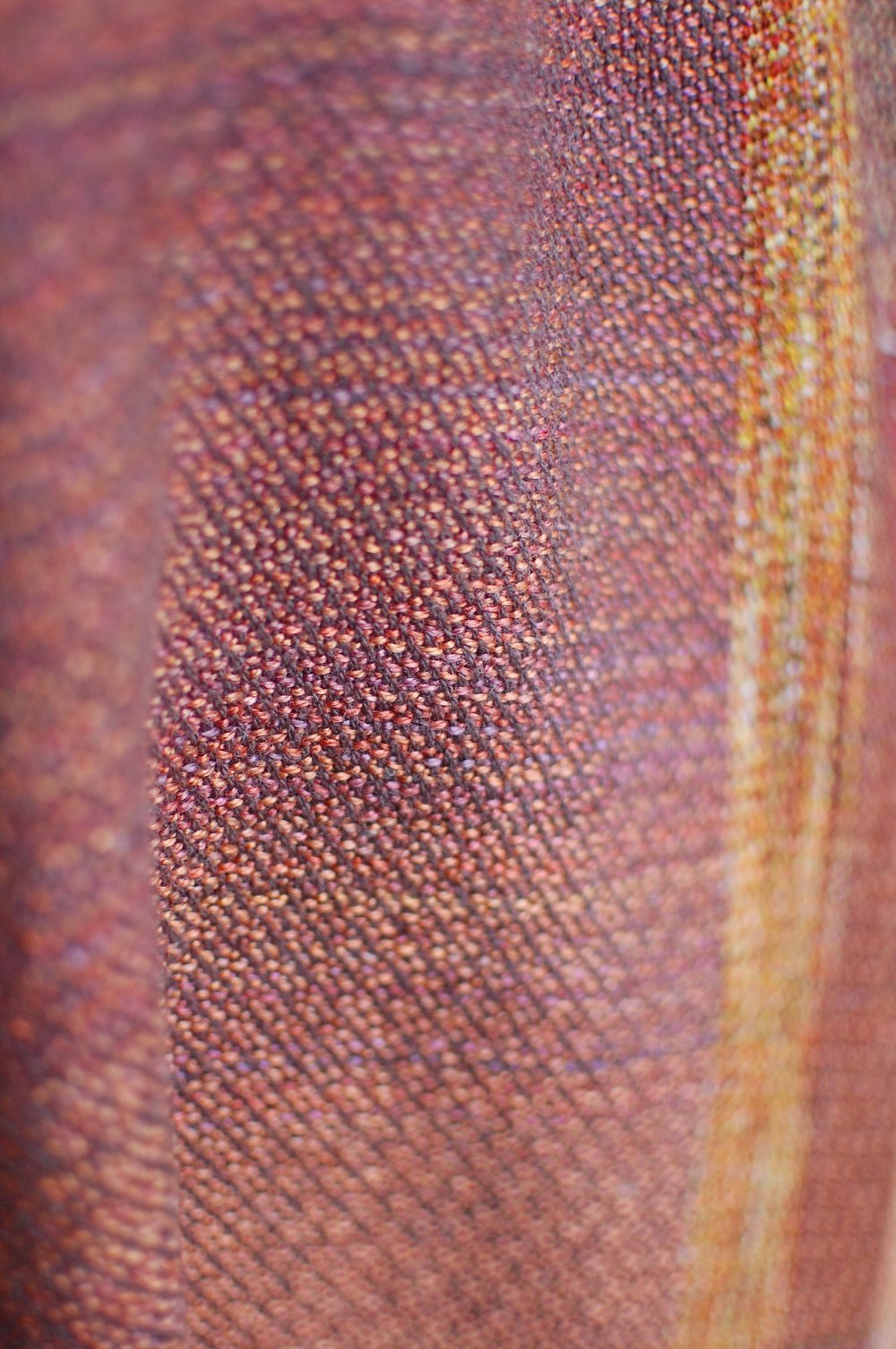 Detail of the weave of finished sample piece - brown cottolin weft