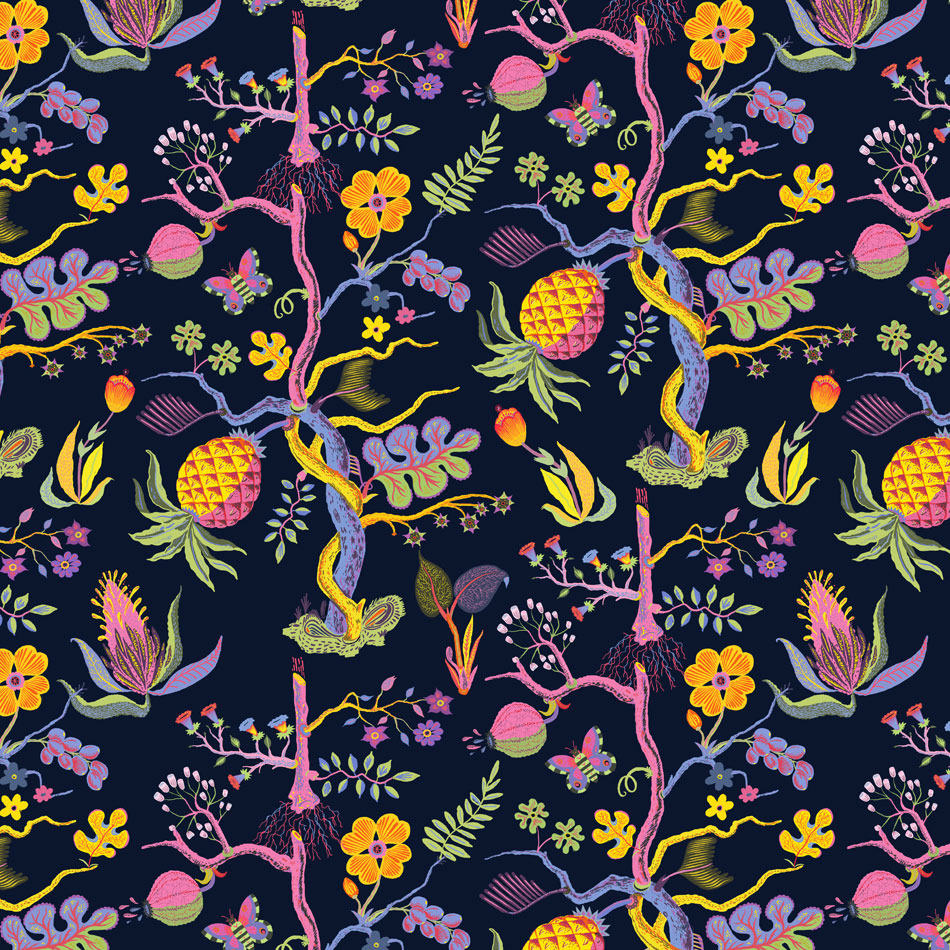Inspired by one of my favorite textile designers, Josef Frank, a master of color and composition. Of course I don't even come close but one can try and learn from a master!   Pineapple pattern by  Llew Mejia