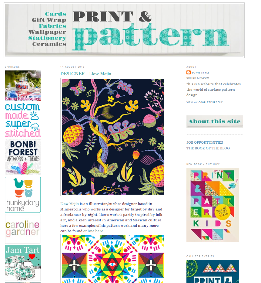 Little feature on Print & Pattern Blog, pretty excited about it check it out!