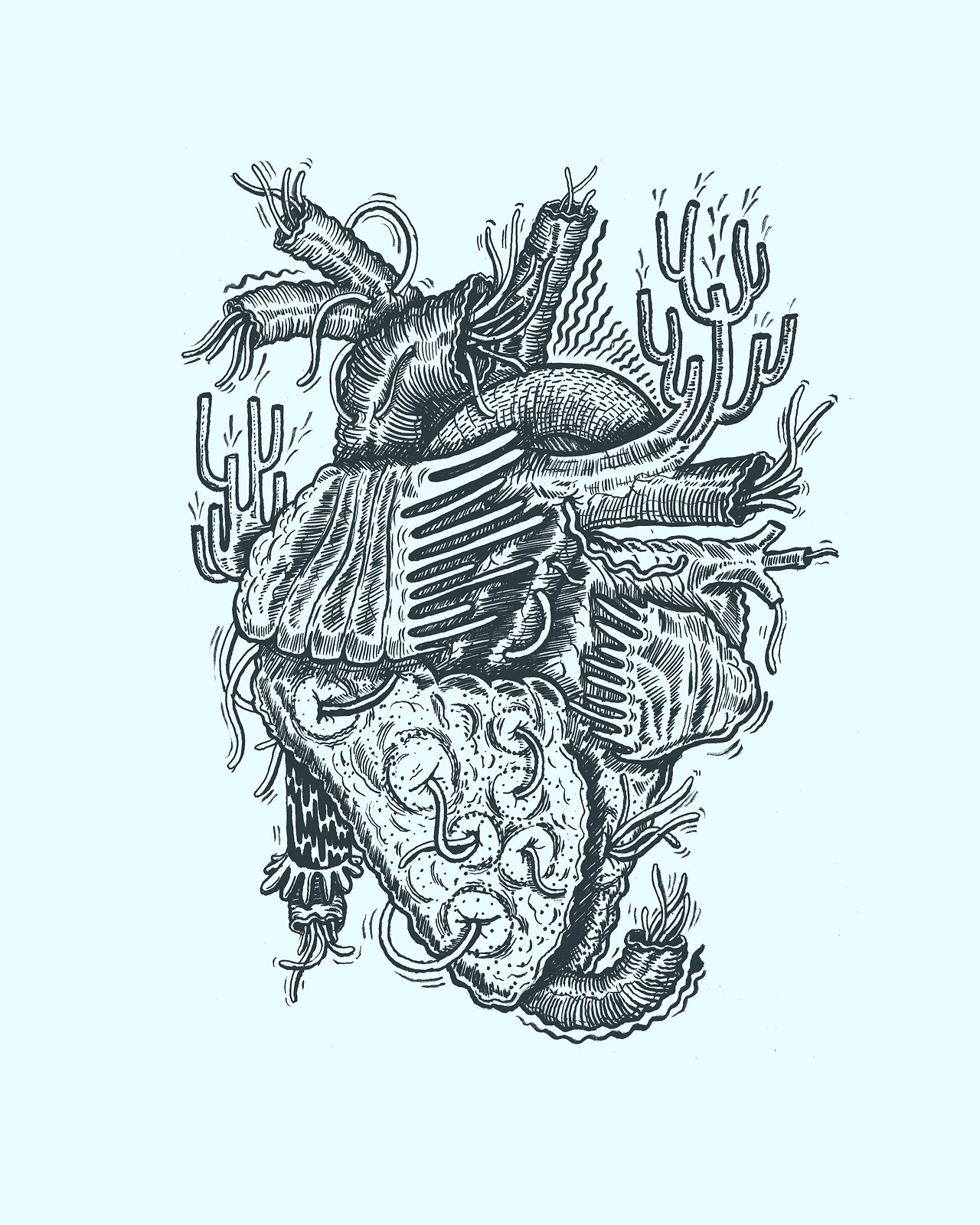 A sneak peek at a lil project me and  Erik Svetoft  are doing, where we are doing pseudoscientific illustrations, we are trying to compile a bunch of different areas of interest. This is a heart with heart worm, first round will be organs I believe. We may make a zine… Colors subject to change.