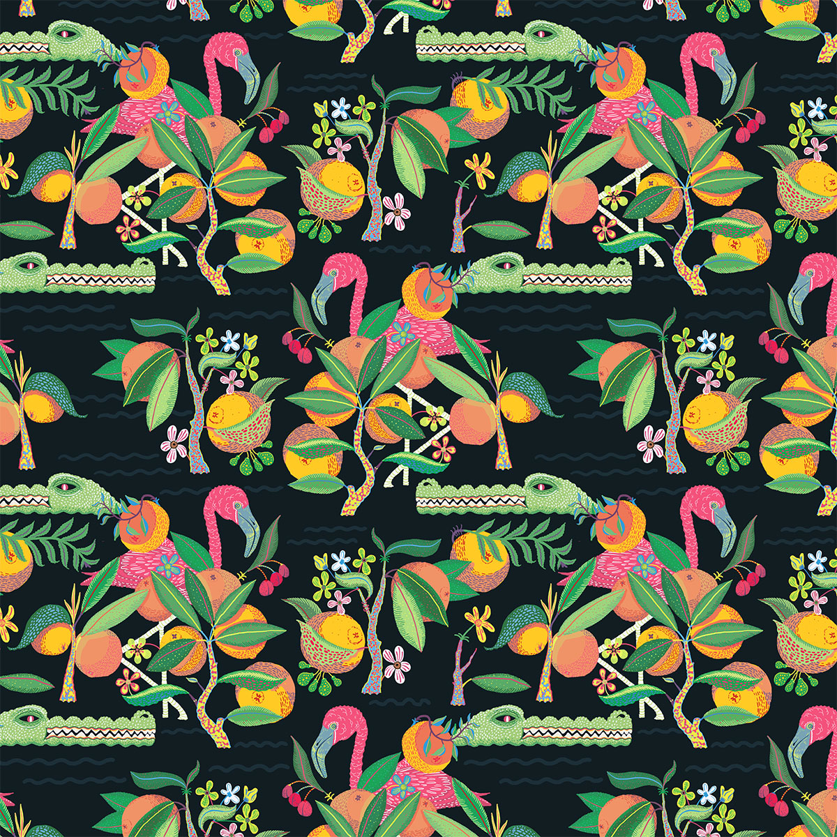 A Floridian pattern complete with Flamingos and gators!