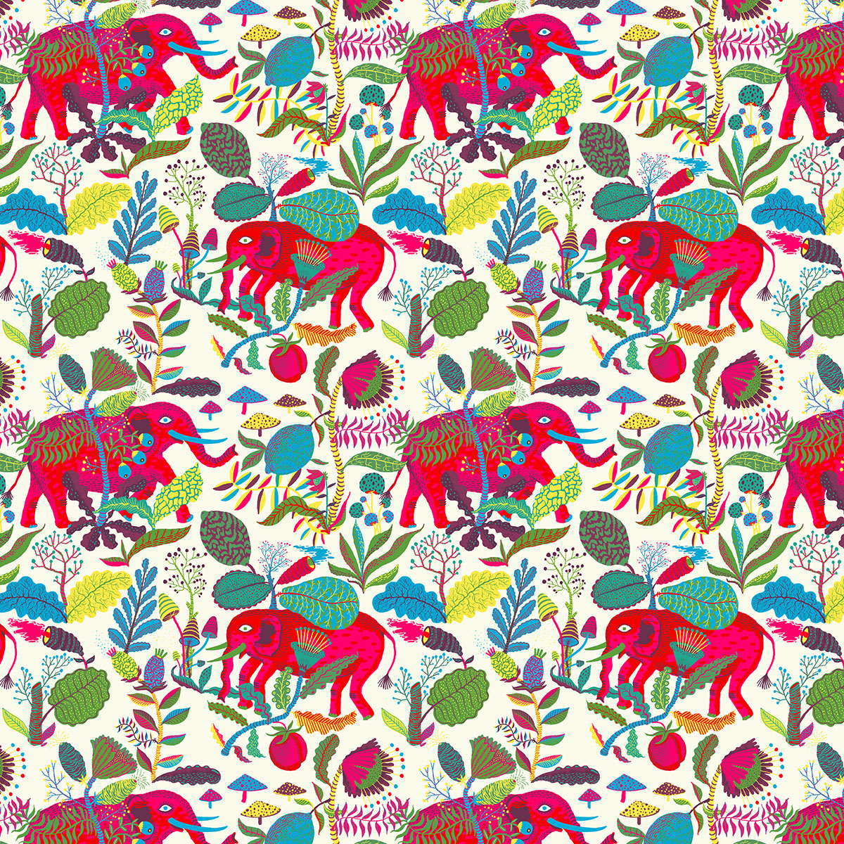 Drew a bunch of baby elephants, stompin' through the jungles of India!
