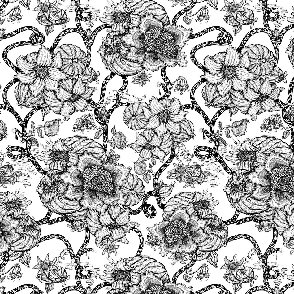 A nice black and white pattern for y'all   Based off of the Clematis flower, a beautiful but toxic flower to most animals, and humans.