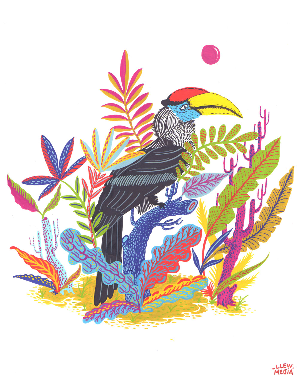 The Great Hornbill reinterpreted through a gouache painting I made. Hope you like it!