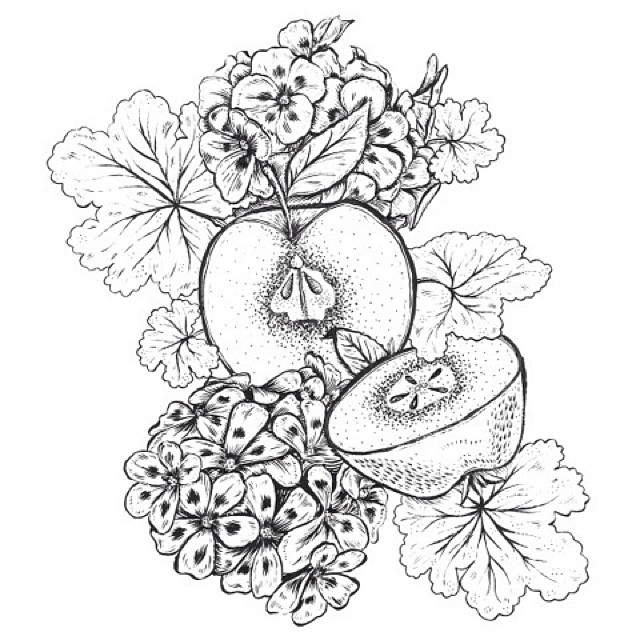 I made this tat for @zzapple some apples and geraniums for the lady. Also don't forget to enter my contest to get a free bandana I made for you.