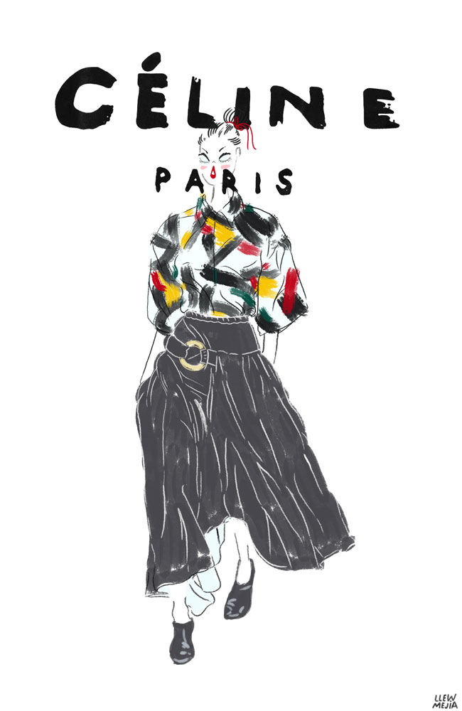 Since it's almost 2014 I decided I would illustrate my favorite outfit from Celine's 2013 RTW. Phoebe Philo is makin magic, the brush stroke textiles are my absolute favorite.