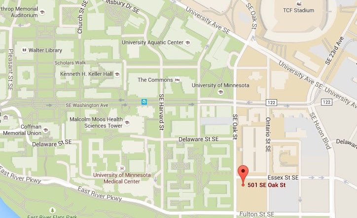 Map for Stadium Village International Church in Minneapolis, across from the University of Minnesota Campus