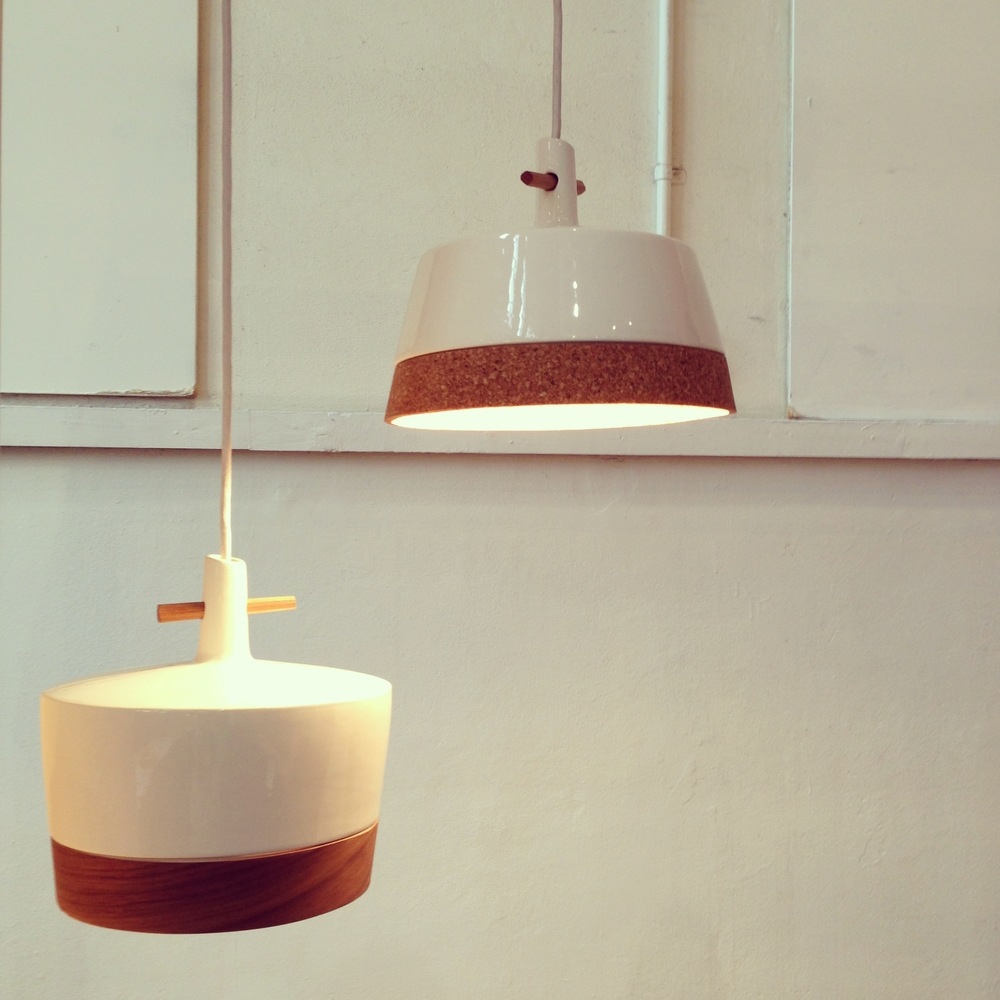 The unusual combination of ceramic with cork and timber really set these lights by Asher Abergele apart.