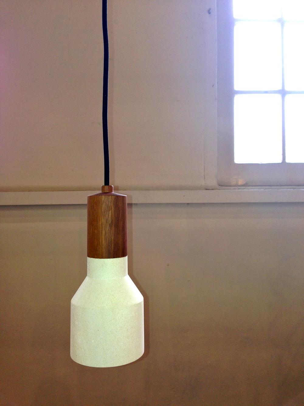 Australian designed SA limestone and reclaimed Australian timber pendant from Inkster Maken.