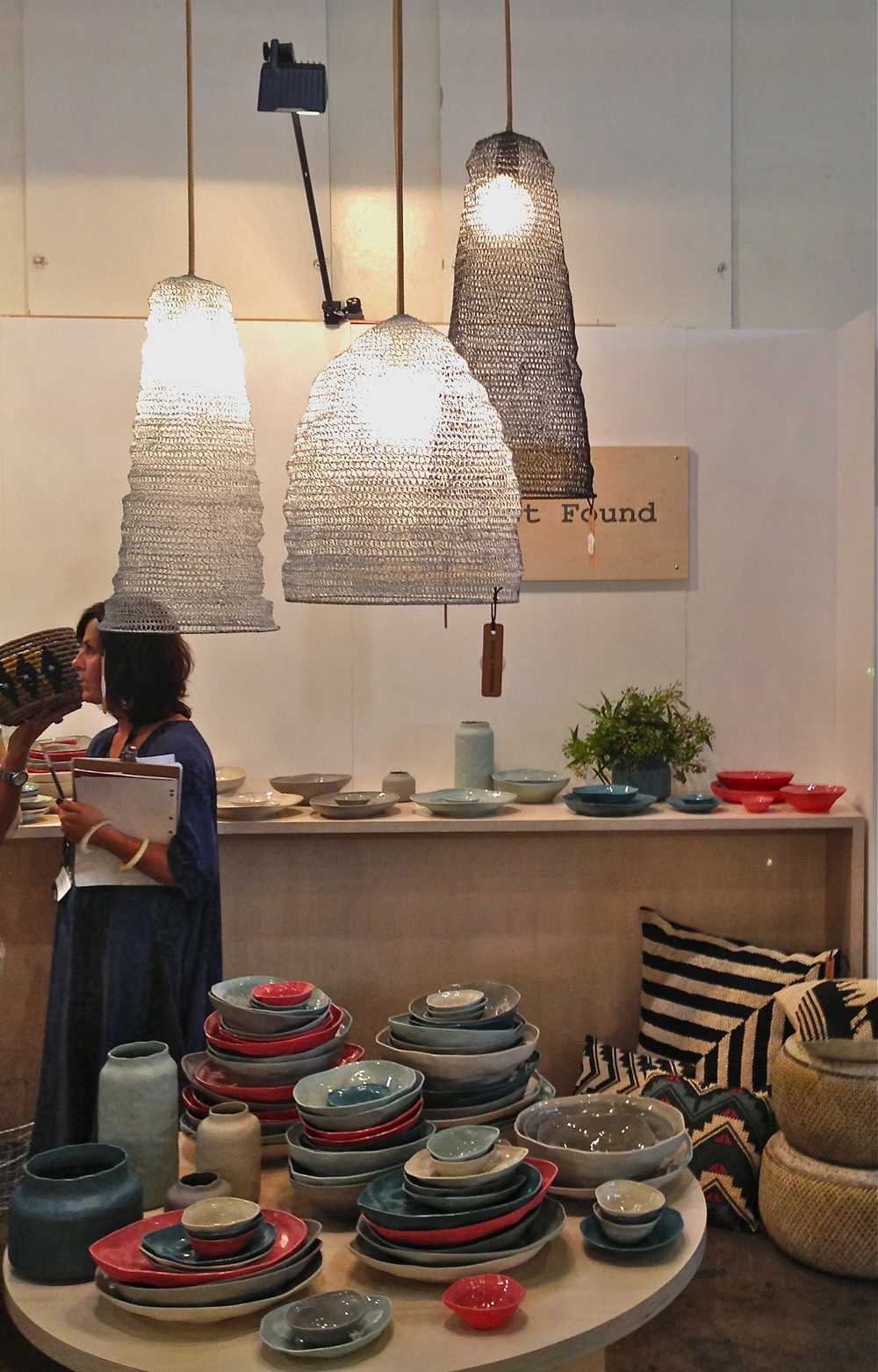 Delicate and textural, these net pendants and handmade bowls and vessels really caught our eye.