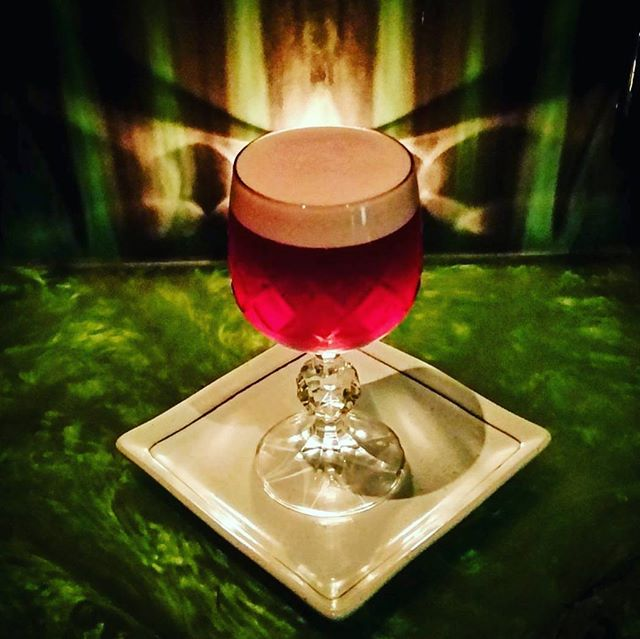 Our resident barkeep Mr @tommyeegs shaking it up with a Cherry Heering twist on a classic New York Sour 👌
